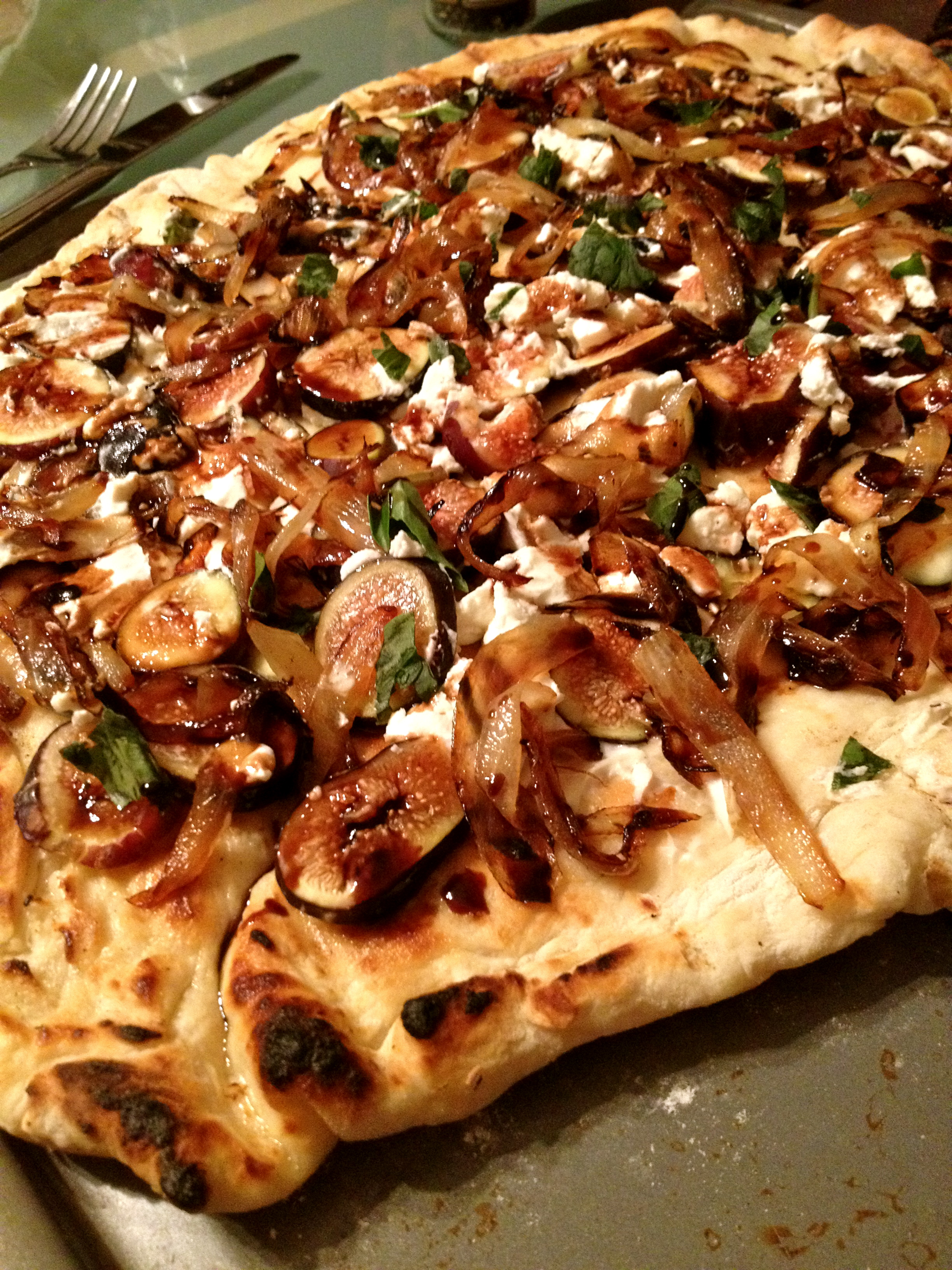 ... Figs – Fig, Caramelized Onion, Goat Cheese Pizza with Balsamic Glaze